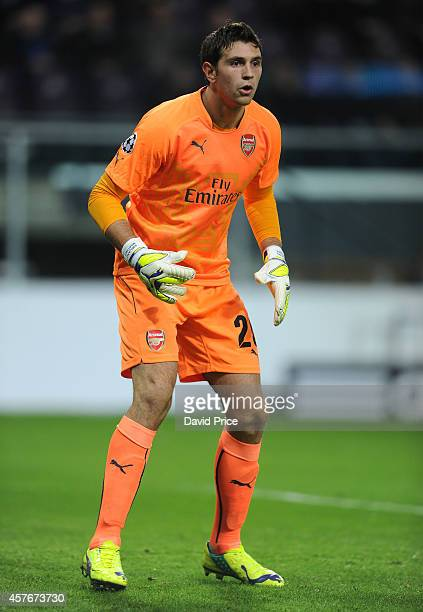 Emiliano Martinez of Arsenal during the UEFA Champions League match between RSC Anderlecht and Arsenal on October 22 2014 in Brussels Belgium