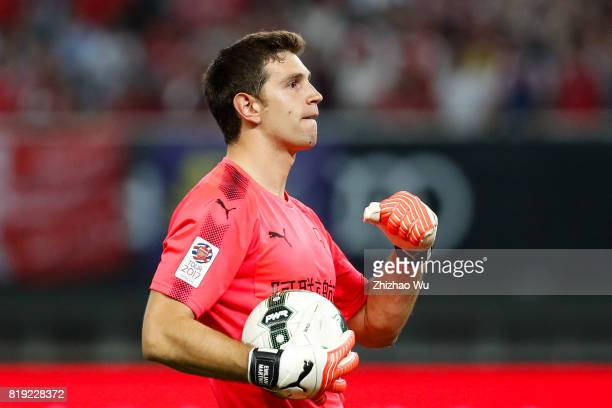 Emiliano Martinez of Arsenal FC celebrates during the 2017 International Champions Cup China match between FC Bayern and Arsenal FC at Shanghai...