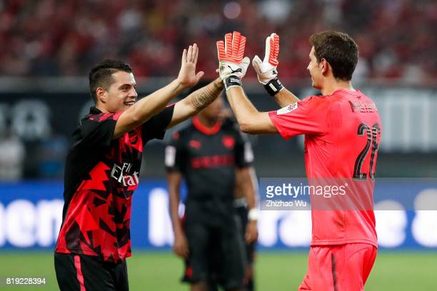 Emiliano Martinez of Arsenal FC celebrates with his teammates after the 2017 International Champions Cup China match between FC Bayern and Arsenal FC...