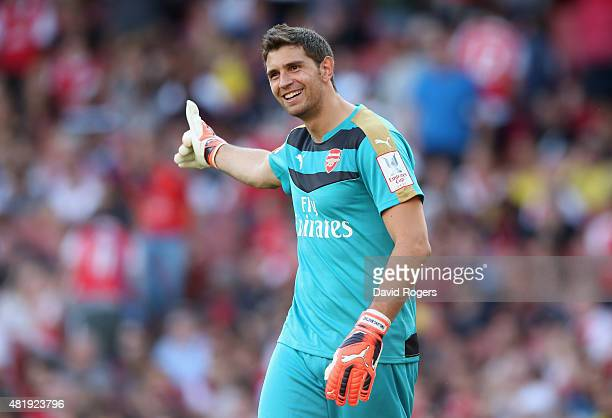 Emiliano Martinez of Arsenal looks on during the Emirates Cup match between Arsenal and Olympique Lyonnais at the Emirates Stadium on July 25 2015 in...