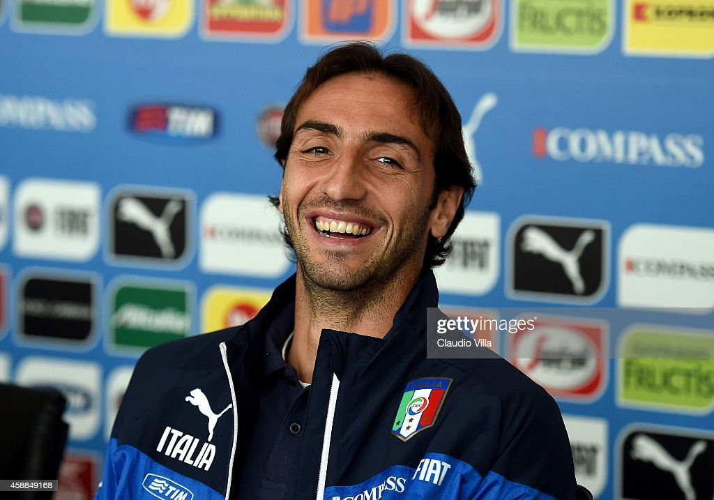 <a gi-track='captionPersonalityLinkClicked' href=/galleries/search?phrase=Emiliano+Moretti&family=editorial&specificpeople=653861 ng-click='$event.stopPropagation()'>Emiliano Moretti</a> during Italy Press Conference at Coverciano on November 12, 2014 in Florence, Italy.