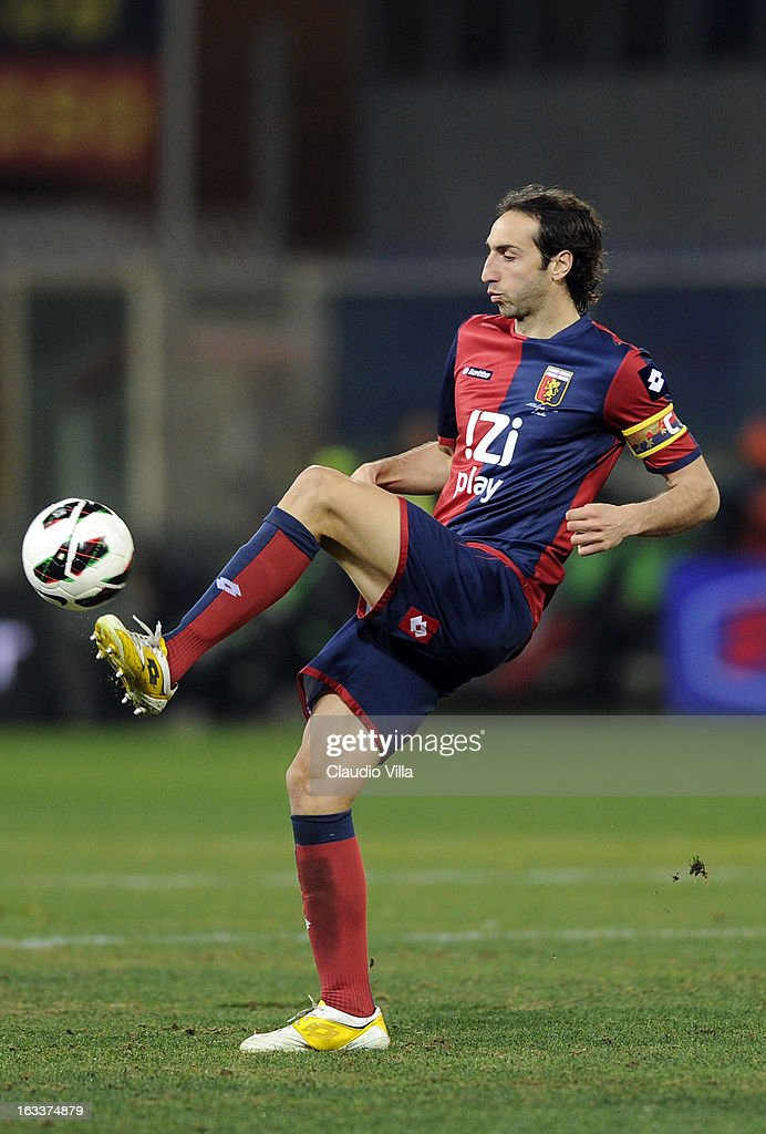 Emiliano Moretti of Genoa CFC in action during the Serie A match between Genoa CFC and AC Milan at Stadio Luigi Ferraris on March 8, 2013 in Genoa, Italy.