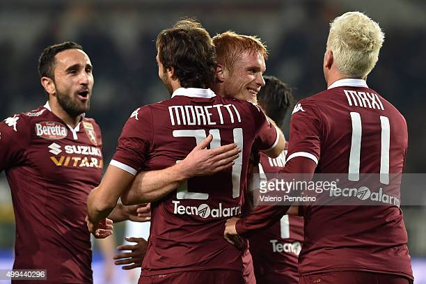 Emiliano Moretti of Torino FC celebrates a goal with team mate Alessandro Gazzi during the TIM Cup match between Torino FC and AC Cesena at Stadio...