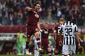 Emiliano Moretti of Torino FC celebrates victory at the end of the Serie A match between Torino FC and Juventus FC at Stadio Olimpico di Torino on...