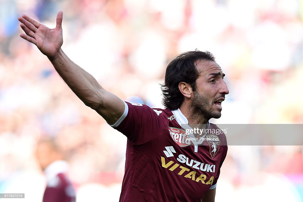 <a gi-track='captionPersonalityLinkClicked' href=/galleries/search?phrase=Emiliano+Moretti&family=editorial&specificpeople=653861 ng-click='$event.stopPropagation()'>Emiliano Moretti</a> of Torino FC reacts during the Serie A match between Torino FC and Juventus FC at Stadio Olimpico di Torino on March 20, 2016 in Turin, Italy.