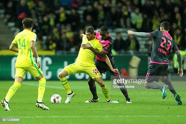 Emiliano Sala of Nantes and Issa Diop of Toulouse during the Ligue 1 match between Fc Nantes and Toulouse Fc at Stade de la Beaujoire on November 5...
