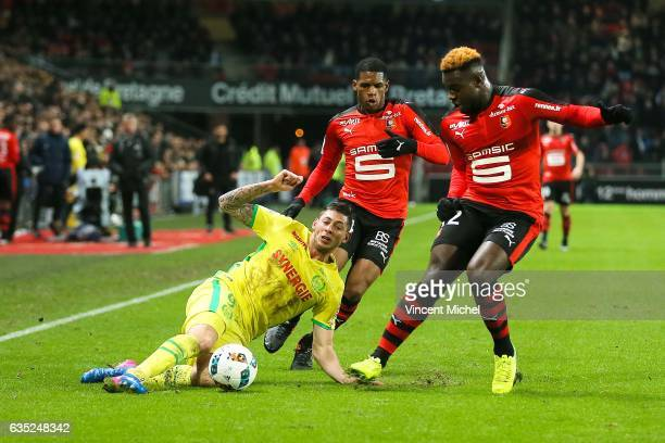 Emiliano Sala of Nantes and Joris Gnagnon of Rennes during the French Ligue 1 match between Rennes and Nantes at Stade de la Route de Lorient on...
