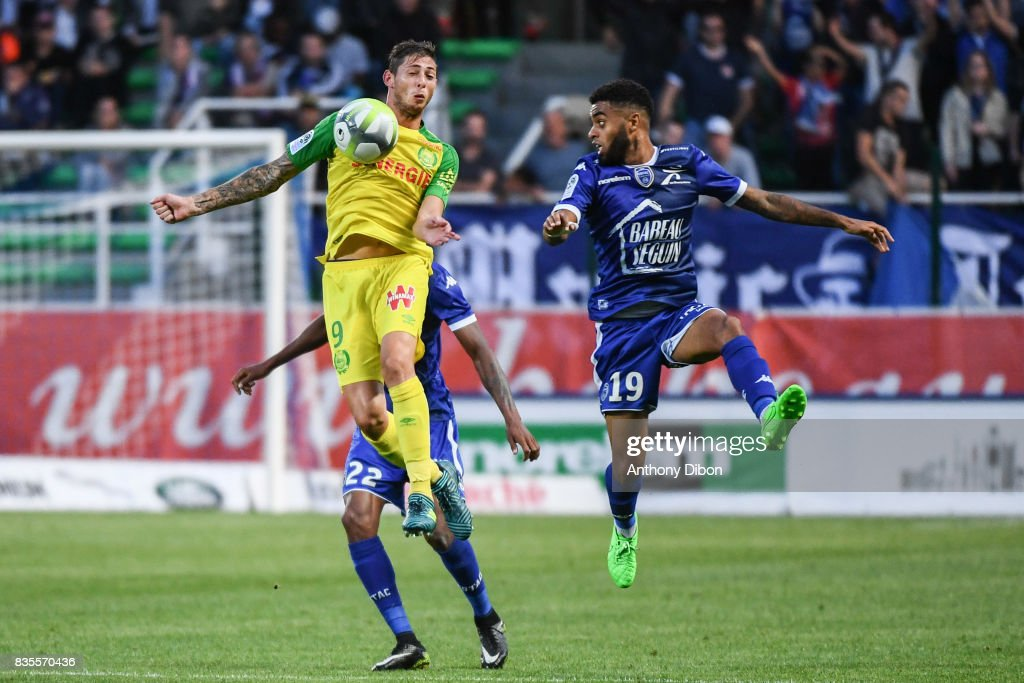 Emiliano Sala of Nantes and Tristan Dingome of Troyes during the Ligue 1 match between Troyes Estac and FC Nantes at Stade de l'Aube on August 19, 2017 in Troyes, .