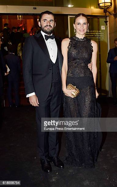 Emiliano Suarez and Carola Baleztena are seen arriving at ELLE 30th anniversay party at the Circulo de Bellas Artes on October 26 2016 in Madrid Spain