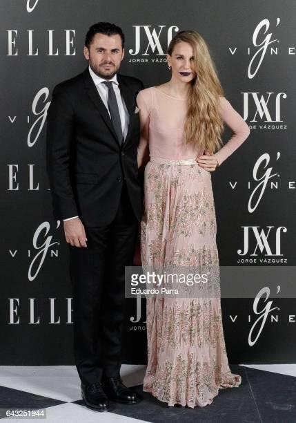 Emiliano Suarez and Carola Baleztena attend the 'Elle Jorge Vazquez' photocall at Principe Pio theatre on February 20 2017 in Madrid Spain