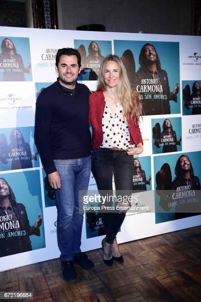 Emiliano Suarez and Carola Baleztena attend the presentation of Antonio Carmona's album 'Obras son amores' on April 21 2017 in Madrid Spain