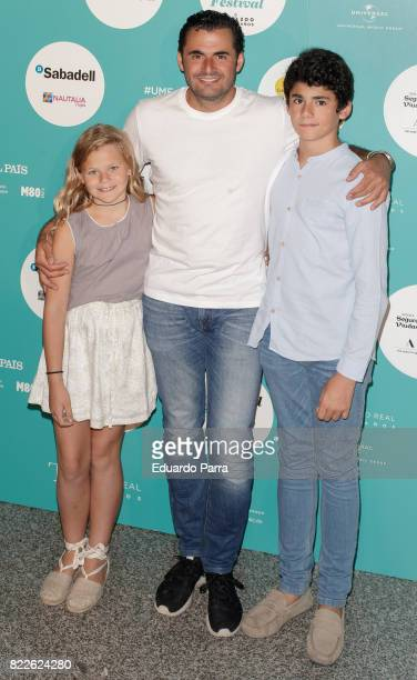 Emiliano Suarez and sons attend the 'Zucchero' photocall at Royal Theatre on July 25 2017 in Madrid Spain