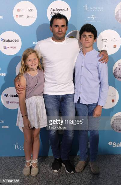 Emiliano Suarez and sons attend the Zucchero's Universal Music Festival concert at The Royal Theater on July 25 2017 in Madrid Spain