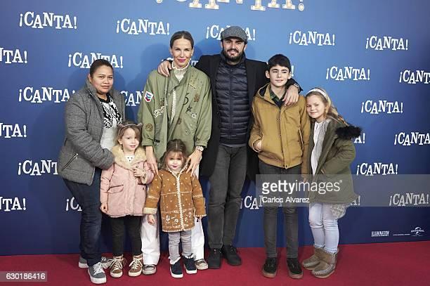 Emiliano Suarez Carola Baleztena and family attend 'Canta' premiere at Capitol cinema on December 18 2016 in Madrid Spain