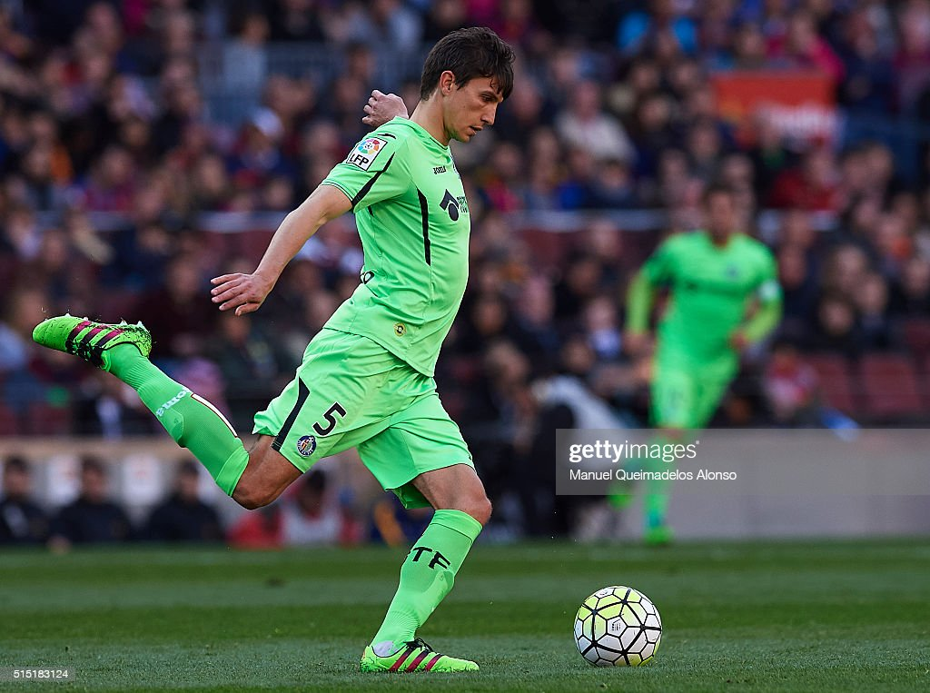 Emiliano Velazquez of Getafe in action during the La Liga match between FC Barcelona and Getafe CF at Camp Nou on March 12, 2016 in Barcelona, Spain.