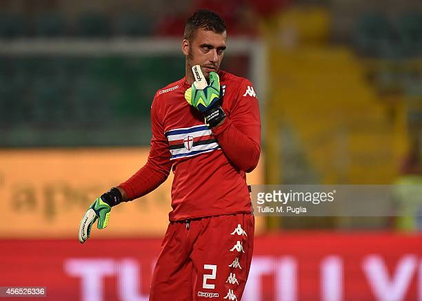 Emiliano Viviano goalkeeper of Sampdoria in action during the Serie A match between US Citta di Palermo and UC Sampdoria at Stadio Renzo Barbera on...