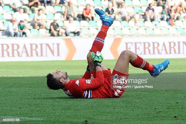 Emiliano Viviano goalkeeper of UC Sampdoria reacts during the Serie A match between US Sassuolo Calcio and UC Sampdoria on September 21 2014 in...