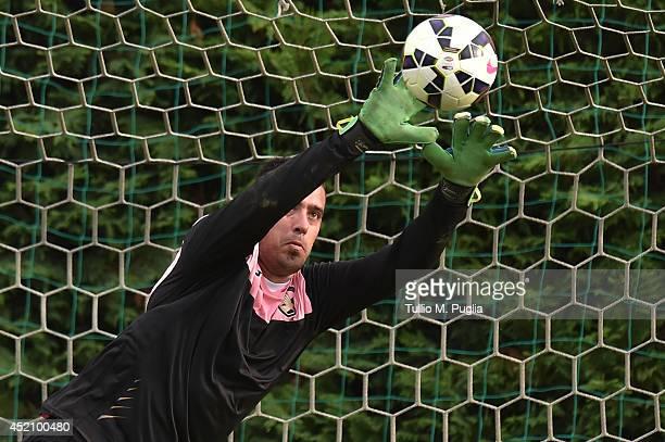 Emiliano Viviano in action during a Palermo training session on July 13 2014 in Coccaglio near Brescia Italy