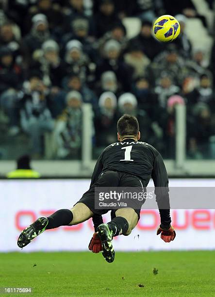 Emiliano Viviano of ACF Fiorentina during the Serie A match between Juventus FC and ACF Fiorentina at Juventus Arena on February 9 2013 in Turin Italy