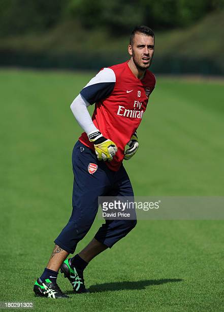 Emiliano Viviano of Arsenal during a goalkeepers training session at London Colney on September 4 2013 in St Albans England