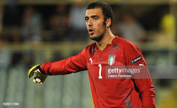 Emiliano Viviano of Italy issues instructions during the UEFA EURO 2012 Group C qualifier between Italy anf Faroe Islands on September 7 2010 in...