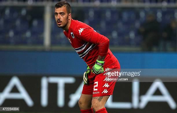 Emiliano Viviano of UC Sampdoria looks on during the Serie A match between UC Sampdoria and Hellas Verona FC at Stadio Luigi Ferraris on April 29...