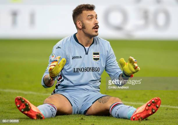 Emiliano Viviano of UC Sampdoria reacts during the Serie A match between FC Internazionale and UC Sampdoria at Stadio Giuseppe Meazza on April 3 2017...