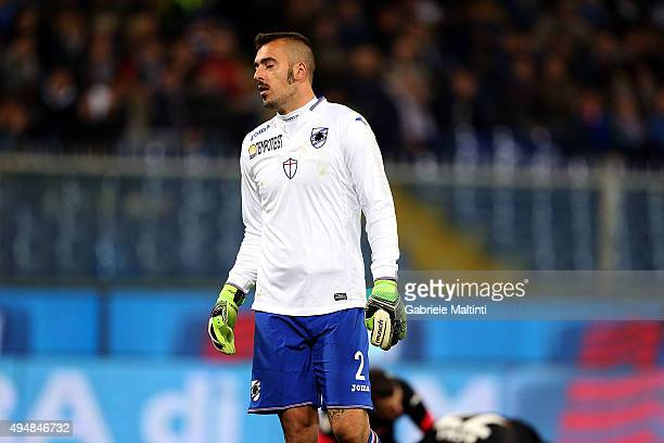 Emiliano Viviano of UC Sampdoria shows his dejection during the Serie A match between UC Sampdoria and Empoli FC at Stadio Luigi Ferraris on October...