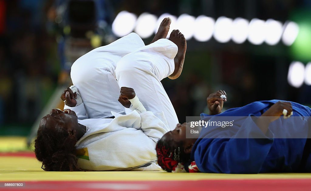 Emilie Andeol of France celebrates after defeating Idalys Ortiz of Cuba during the Women's 78kg Judo Gold Medal contest on Day 7 of the Rio 2016...