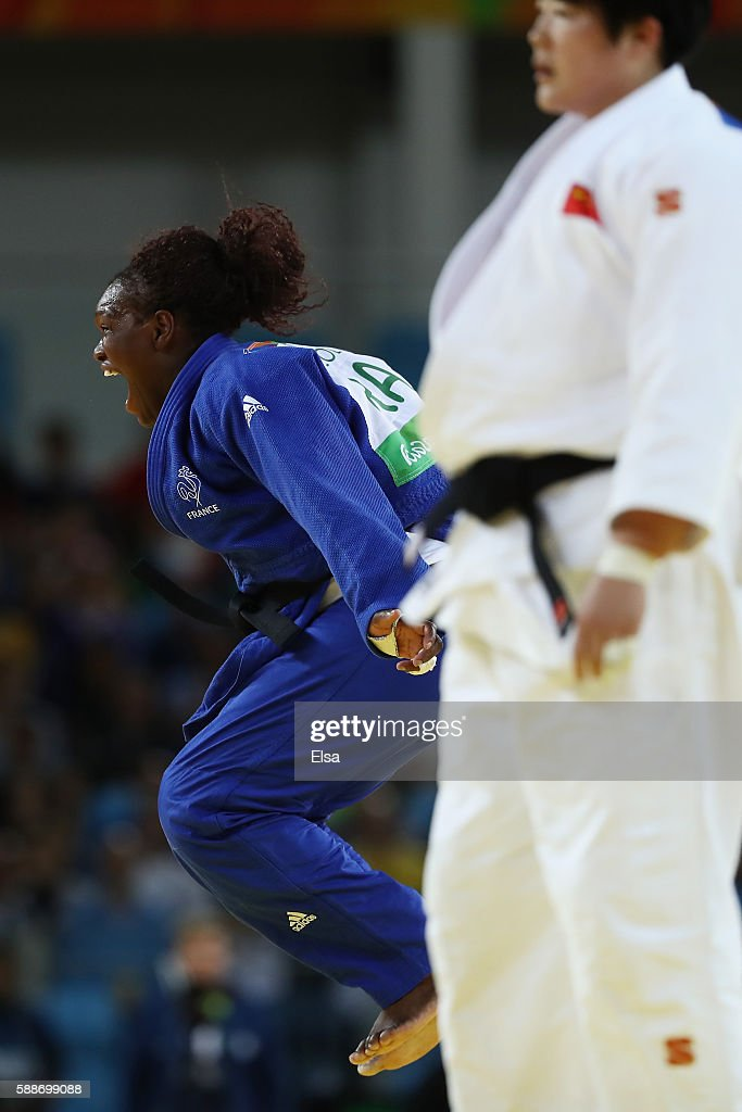 Emilie Andeol of France celebrates after defeating Song Yu of China during the Women's 78kg Judo contest on Day 7 of the Rio 2016 Olympic Games at...