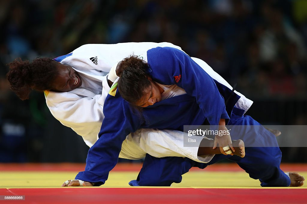 Emilie Andeol of France competes against Nihel Cheikh Rouhou of Tunisia during the Women's 78kg Judo contest on Day 7 of the Rio 2016 Olympic Games...