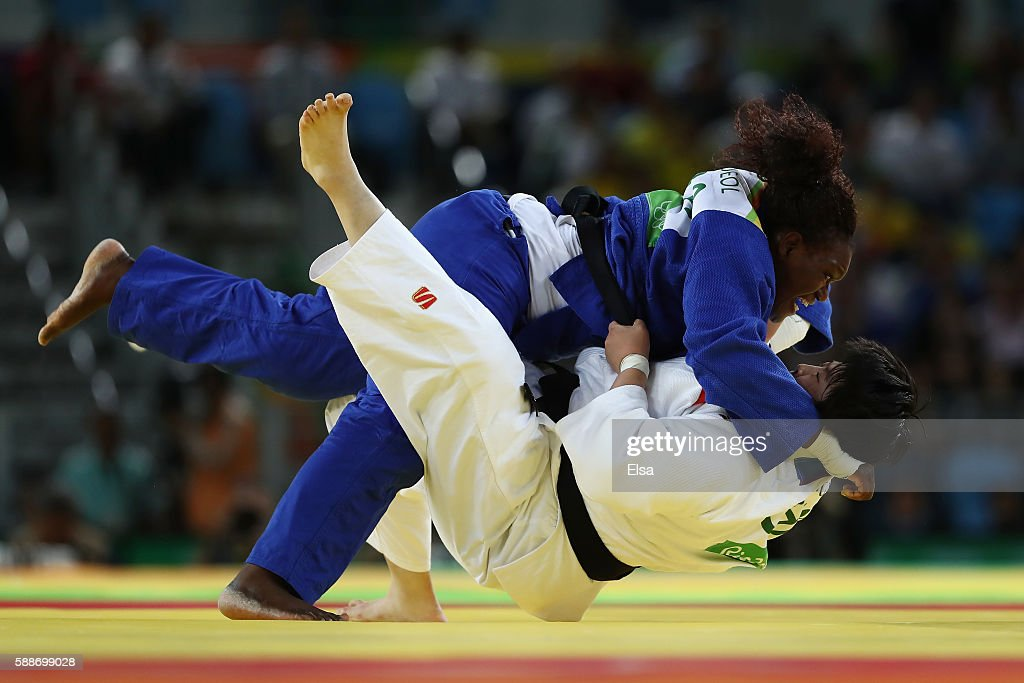 Emilie Andeol of France competes against Song Yu of China during the Women's 78kg Judo contest on Day 7 of the Rio 2016 Olympic Games at Carioca...