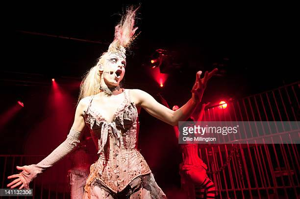 Emilie Autumn and Veronica Varlow perform during a date of The Asylum 'Fight Like A Girl' UK Tour 2012 onstage at Rock City on March 10 2012 in...