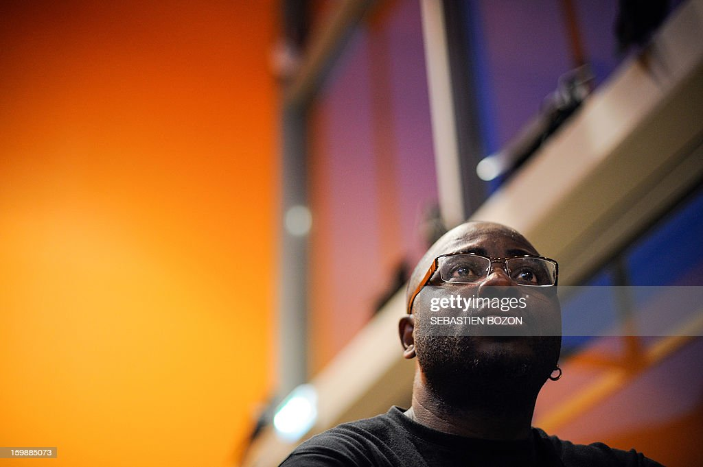 Emilie Biayenda, leader of the band 'Les tambours de Brazza', is pictured during an interview at La Rodia on January 18, 2013 in Besancon.