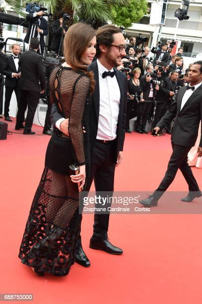 Emilie Broussouloux and Thomas Hollande attend the 'Amant Double ' premiere during the 70th annual Cannes Film Festival at Palais des Festivals on...