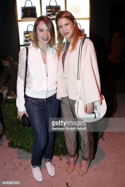 Emilie Dequenne and Hande Kodja attend Delvaux Cocktail as part of Paris Fashion Week Womenswear at Jardin du Palais Royal on March 5 2017 in Paris...