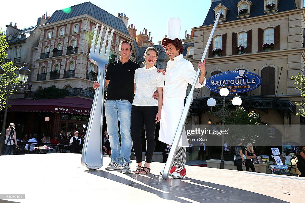 Emilie Dequenne and Michel Ferracci attend the launch of 'RatatouilleThe Adventure' at Disneyland Resort Paris on June 21 2014 in Paris France