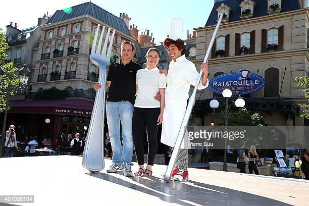 Emilie Dequenne and Michel Ferracci attend the launch of 'RatatouilleThe Adventure' at Disneyland Resort Paris on June 21 2014 in Paris France