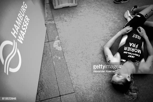 Emilie Morier of France lies the finish line during the Elite Mixed Relay at Hamburg Wasser ITU World Triathlon Championships 2017 on July 16 2017 in...