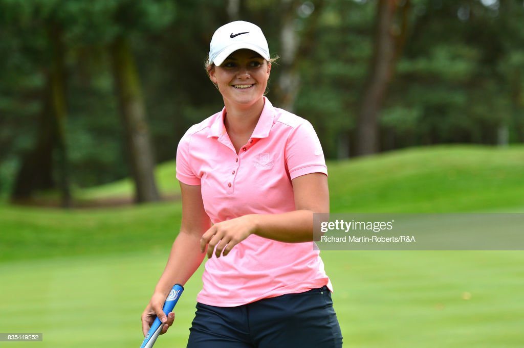 Emilie Overas of Norway reacts after winning her semi-final match against Elena Moosmann of Switzerland on the 18th green during the Girls' British Open Amateur Championship at Enville Golf Club on August 19, 2017 in Stourbridge, England.