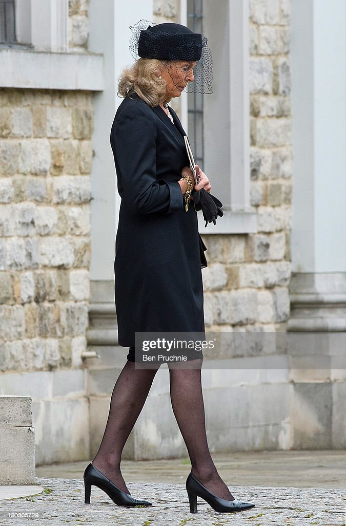 Emilie van Cutsem attends a requiem mass for her late husband Hugh van Cutsem who passed away on September 2nd 2013 at Brentwood Cathedral on September 11, 2013 in Brentwood, England.
