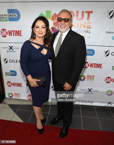 Emilio and Gloria Estefan attend 'A Change of Heart' screening at Regal Cinemas South Beach Stadium 18 on April 22 2017 in Miami Florida