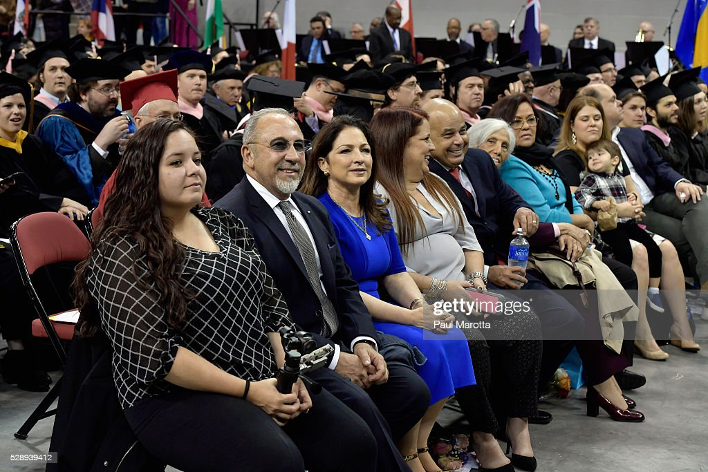 Emilio and Gloria Estefan attend the Berklee College of Music 2016 Commencement Exercises at Agganis Arena at Boston University on May 7, 2016 in Boston, Massachusetts. The Estefan's daughter Emily Estefan graduated with a Bachelor of Music Degree. Honorary Doctor of Music Degrees were given to Rita Moreno, Milton Naschimento, the Isley Brothers and Lucian Grainge, and app 900 students from 68 countries were awarded degrees.