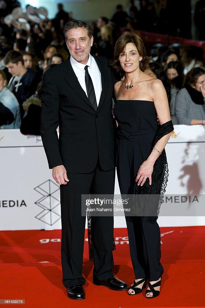 Emilio Aragon (L) attends the 17th Malaga Film Festival 2014 closing ceremony at the Cervantes Theater on March 29, 2014 in Malaga, Spain.