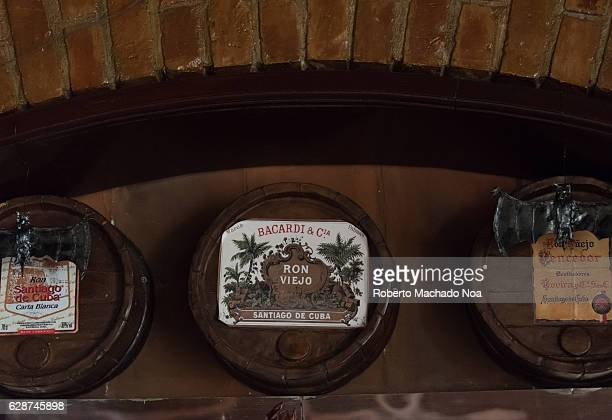 Emilio Bacardi House of Rum brand name labels in oak wooden barrels of the drink Architectural detail The place is a tourist attraction in the...
