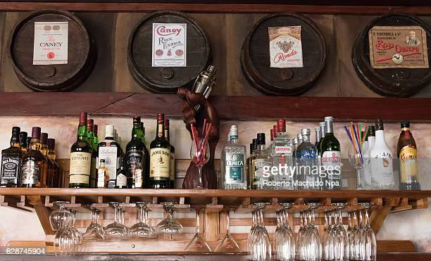 Emilio Bacardi House of Rum brand name labels in oak wooden barrels of the drink Caney Ronda Brand in bar The place is a tourist attraction in the...
