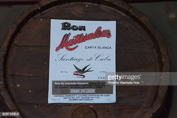 Emilio Bacardi House of Rum brand name labels in oak wooden barrels of the drink Matusalen Brand The place is a tourist attraction in the tropical...