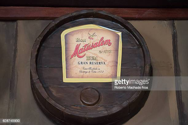 Emilio Bacardi House of Rum brand name labels in oak wooden barrels of the drink Matusalen Great Reserve The place is a tourist attraction in the...