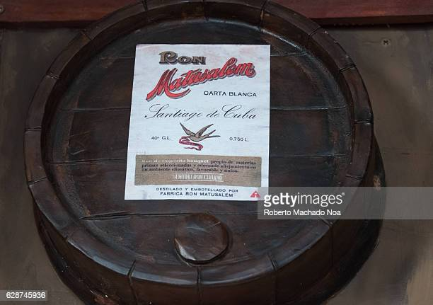Emilio Bacardi House of Rum brand name labels in oak wooden barrels of the drink Matusalen Rum The place is a tourist attraction in the tropical city