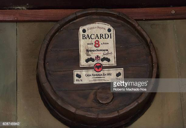 Emilio Bacardi House of Rum brand name labels in oak wooden barrels of the drink Bacardi 8 Years Old The place is a tourist attraction in the...